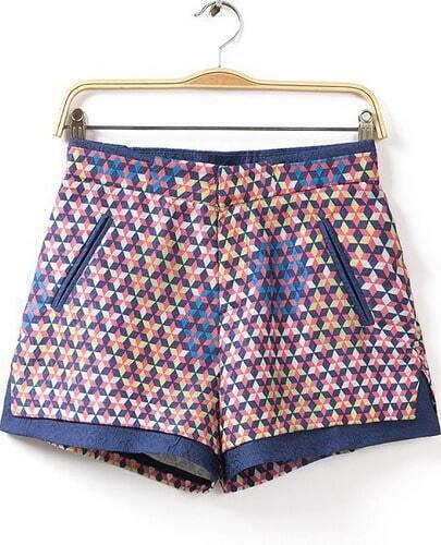 Blue Stars Print Pockets Shorts