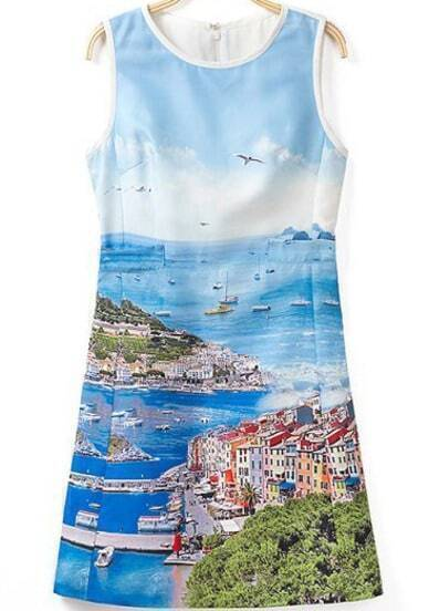 Blue Sleeveless Landscape Print Slim Dress