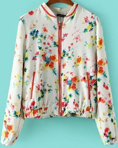 White Stand Collar Long Sleeve Floral Jacket