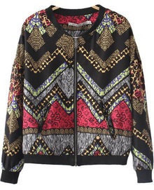 Black Long Sleeve Vintage Geometric Print Jacket