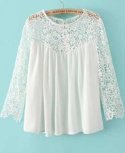 White Contrast Lace Long Sleeve Loose Blouse