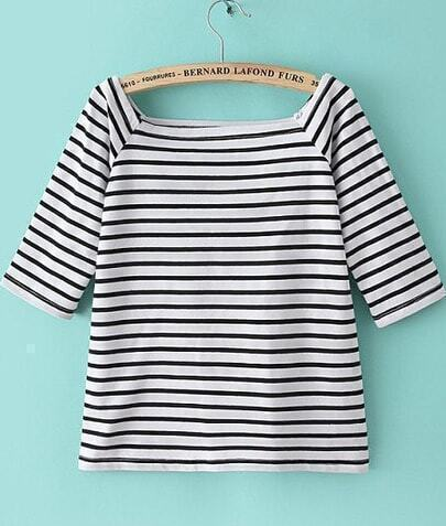 Black White Striped Half Sleeve Loose T-Shirt