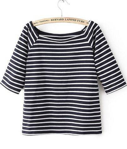 Navy White Striped Half Sleeve Loose T-Shirt
