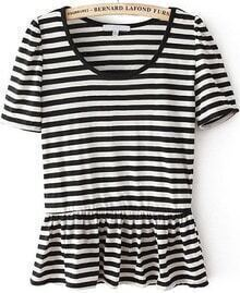 Black White Short Sleeve Striped Ruffle T-Shirt