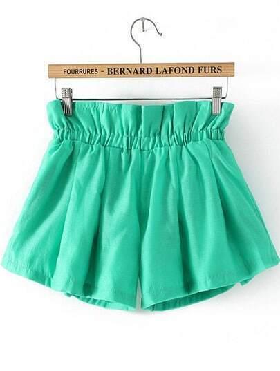 Green Elastic Waist Loose Shorts