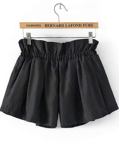 Black Elastic Waist Loose Shorts