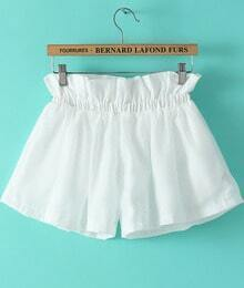 White Elastic Waist Loose Shorts