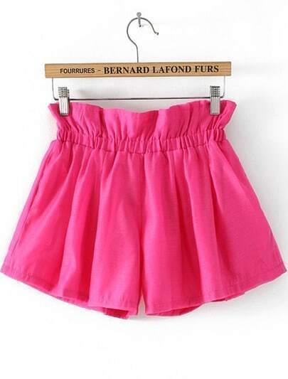 Rose Red Elastic Waist Loose Shorts