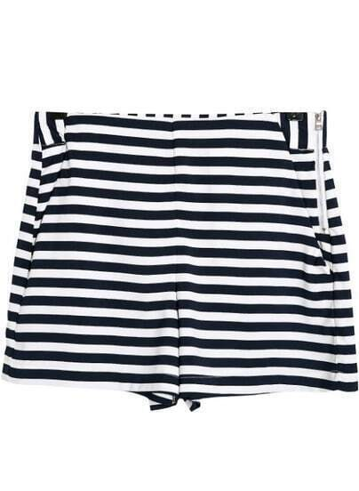 Black White Striped Pockets Shorts