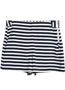 Black White Striped Pockets Shorts