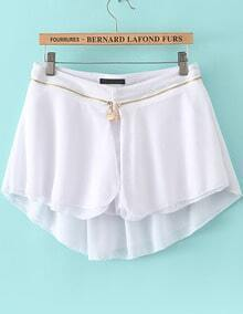 White Zipper Modal Contrast Chiffon Skirt Shorts