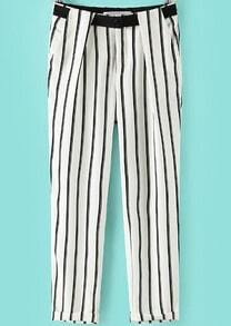 White Pockets Vertical Stripe Pant
