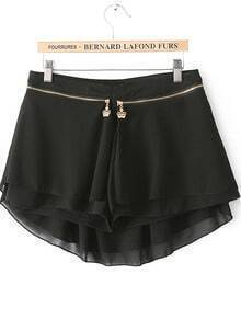 Black Zipper Modal Contrast Chiffon Skirt Shorts