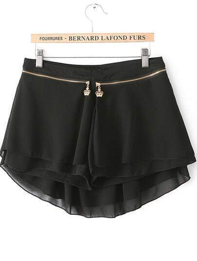 Black Zipper Modal Contrast Chiffon Skirt Shorts
