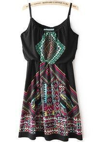 Black Spaghetti Strap Tribal Print Slim Dress