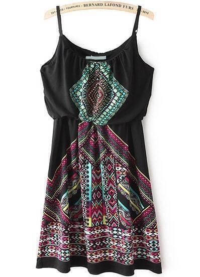 Black Spaghetti Strap Tribal Print Slim Dress