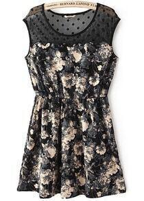 Black Contrast Sheer Mesh Yoke Floral Pleated Dress
