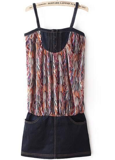 Black Spaghetti Strap Floral Denim Dress