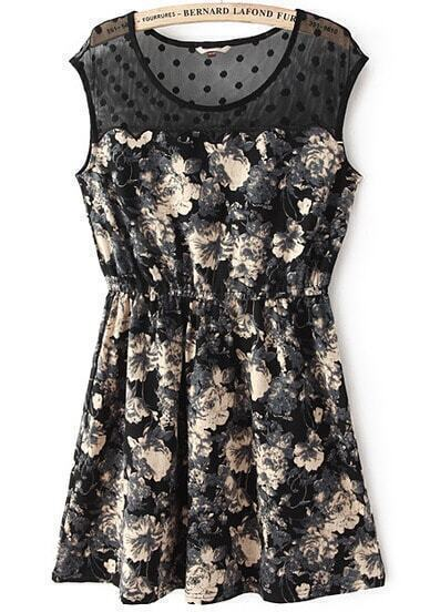 Black Contrast Sheer Mesh Yoke Floral Pleated Dress