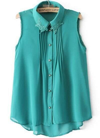 Green Lace Lapel Sleeveless Chiffon Blouse