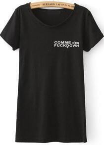 Black Short Sleeve Letters Print Slim T-Shirt