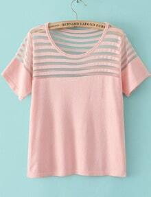 Pink Short Sleeve Contrast Sheer Mesh Yoke T-Shirt