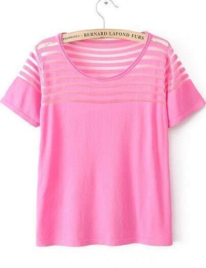 Red Short Sleeve Contrast Sheer Mesh Yoke T-Shirt