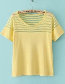 Yellow Short Sleeve Contrast Sheer Mesh Yoke T-Shirt