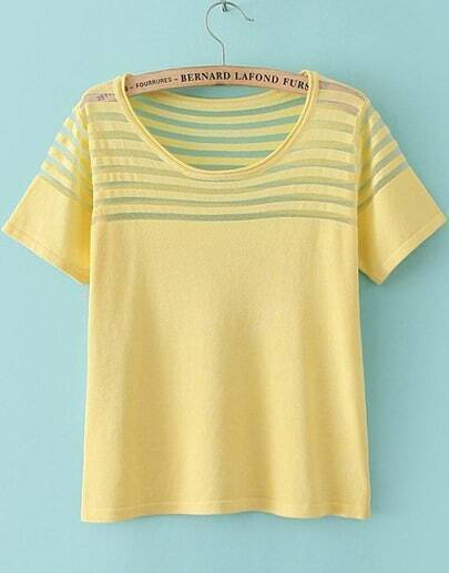 Yellow Short Sleeve Contrast Sheer Mesh Yoke T-Shirt