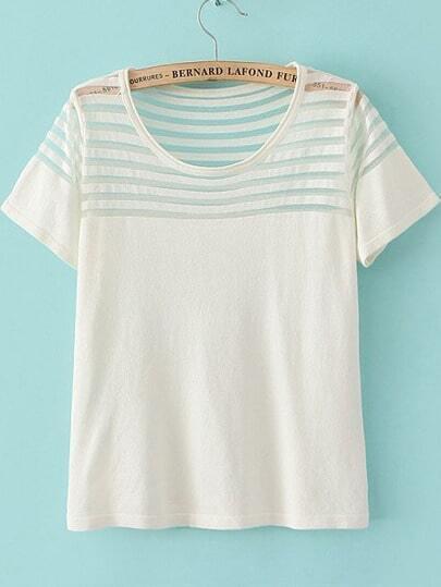 White Short Sleeve Contrast Sheer Mesh Yoke T-Shirt