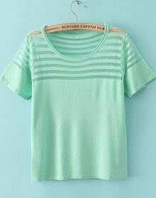 Green Short Sleeve Contrast Sheer Mesh Yoke T-Shirt