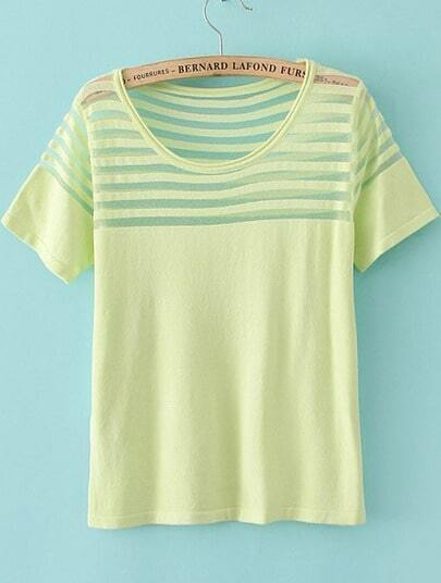 Light Green Short Sleeve Contrast Sheer Mesh Yoke T-Shirt