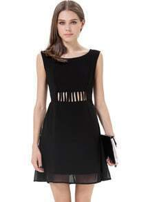 Black Sleeveless Hollow Back Chiffon Dress