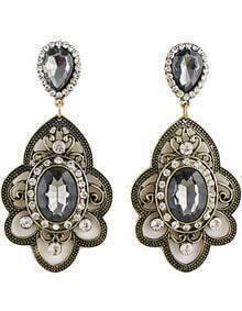 Black Gemstone Retro Gold Hollow Earrings
