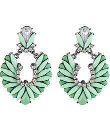 Green Gemstone Silver Diamond Earrings