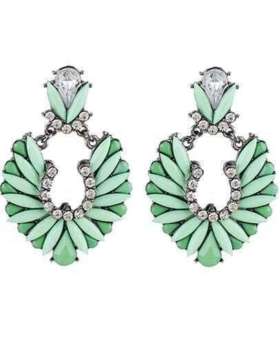 Green Gemstone Silver Diamond Earrings