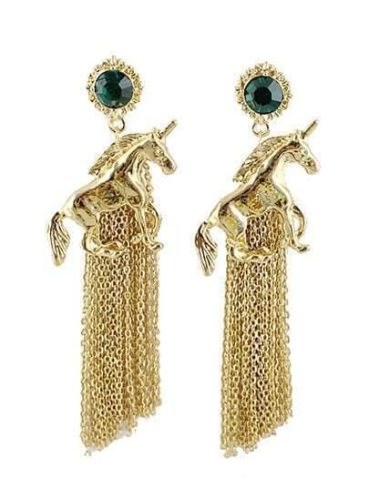 Green Gemstone Gold Horse Chain Tassel Earrings