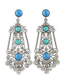 Blue Gemstone Retro Silver Hollow Earrings
