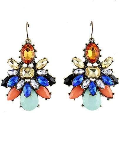 Multicolor Gemstone Retro Gold Dangle Earrings