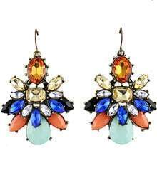 Multicolor Gemstone Retro Gold Dangle Earrings