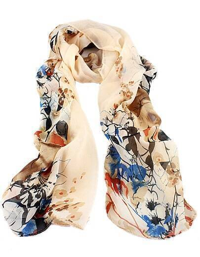 Apricot Floral Silk Scarves