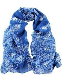 écharpe motif floral à la mode -bleu