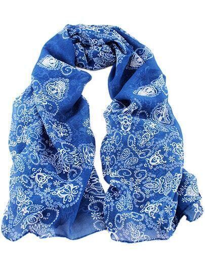 charpe motif floral la mode bleu french shein sheinside. Black Bedroom Furniture Sets. Home Design Ideas