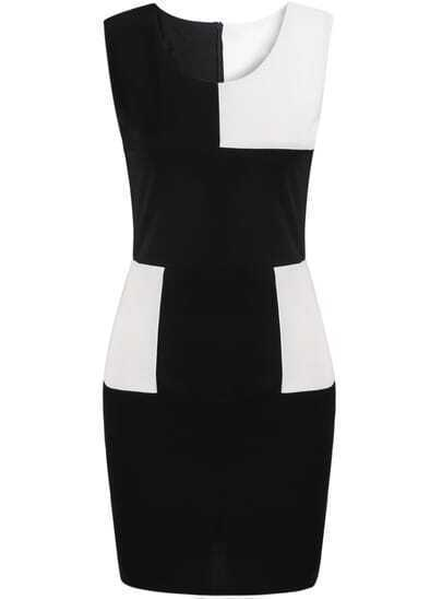 Black Contrast White Sleeveless Bodycon Dress