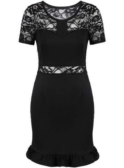 Black Contrast Lace Short Sleeve Bodycon Dress