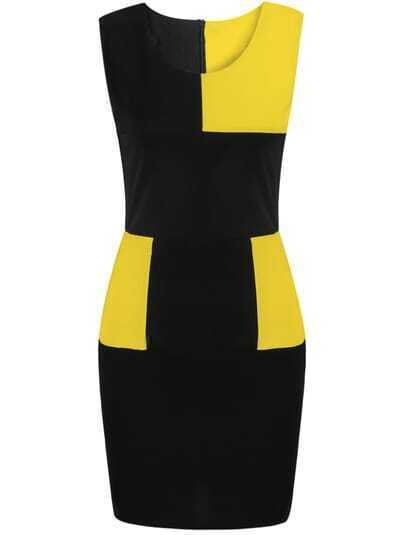 Black Contrast Yellow Sleeveless Bodycon Dress
