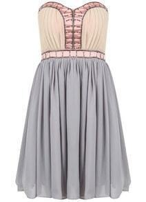 Grey Strapless Bead Pleated Chiffon Dress