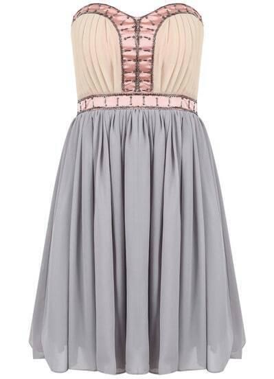 Grey Strapless Bead Pleated Chiffon Dress