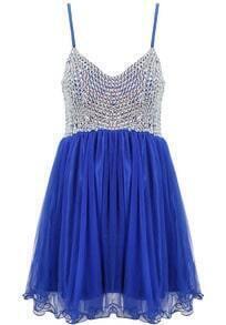 Blue Spaghetti Strap Bead Pleated Flare Dress