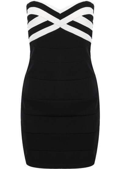 Black Strapless Striped Slim Bodycon Dress